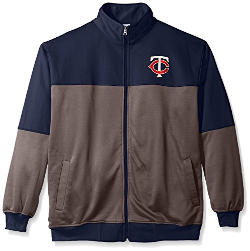 MLB Minnesota Twins Men's Poly Fleece Yoked Track Jacket with Wordmark Logo, 3X/Tall, Navy/Gray