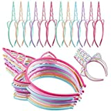 24 Pieces Plastic Unicorn Headbands Unicorn Horn Headband Fancy Dress Cosplay Decoration Supplies for Party (Light Colors)