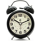 """JCC 3"""" Retro Twin Bell Silent Non Ticking Sweep Second Hand Bedside Desk Analog Quartz Movement Alarm Clock with Nightlight and Loud Alarm, Battery Operated (Turquoise)"""