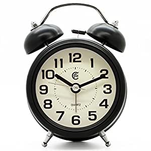 """JCC 3"""" Retro Twin Bell Silent Non Ticking Sweep Second Hand Bedside Desk Analog Quartz Movement Alarm Clock with 5 min Snooze Repeat Alarm, Nightlight and Loud Alarm, Battery Operated (Black)"""