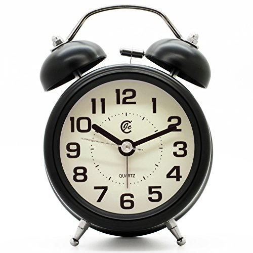 "JCC 3"" Retro Twin Bell Silent Non Ticking Sweep Second Hand Bedside Desk Analog Quartz Alarm Clock with Nightlight and Loud Alarm, Battery Operated (Black)"