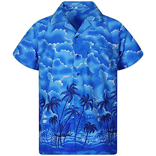 MIS1950s Men's Hawaii Print Casual Button Down Short Sleeve Hawaiian Shirt Quick Dry Top Blouse