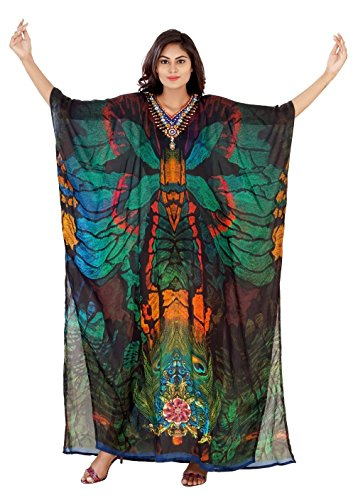 Peacock color print Silk kaftan online one piece dress on sale/jeweled/hand made/formal/caftan beach cover up hot look luxuries Resort yacht party kaftan ()