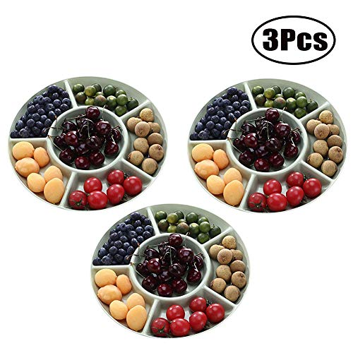 Snack Serving Tray Dried Fruit and Nuts Plate 6-Section Plastic Candy Dish Salad Bowl for Fruits Desserts Wedding Home Party Platter - Salad Fruit Plate