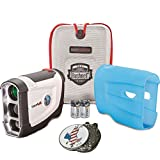 Bundle: Bushnell 2016 Tour V4 Jolt Patriot Pack Golf Laser Rangefinder + CR2 Battery + 1 Custom Ball Marker Clip Set (American Eagle) + Blue Silicon Skin