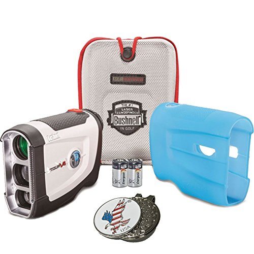 Bundle: Bushnell 2016 Tour V4 Jolt Patriot Pack Golf Laser Rangefinder + CR2 Battery + 1 Custom Ball Marker Clip Set (American Eagle) + Blue Silicon Skin (More Cover See Putter)