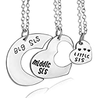 Sweet Big Middle Little Sister Heart 3Pcs Set Pendant Family Necklace Jewelry