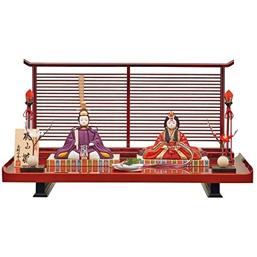 雛人形 一秀 江戸木目込み人形 親王(2人) 平飾り 入り目 スタイリッシュ 幅50cm [i-11-b111] 格子衝立屏風 ひな祭り   B0792PF5DY