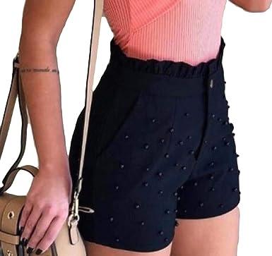 Generic Womens Wide Leg Shorts High Waist Shorts with Drawstring