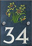 Engraved Slate House Number Sign with engraved Bunch of Daffodils - 140mm x 100mm