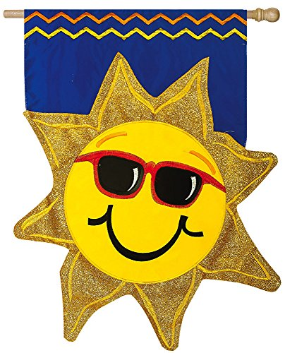 - Evergreen Summer Sunshine Double-Sided Appliqué House Flag - 28