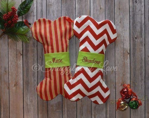 personalized dog christmas stocking bone shape in your choice of 22 red green and blue