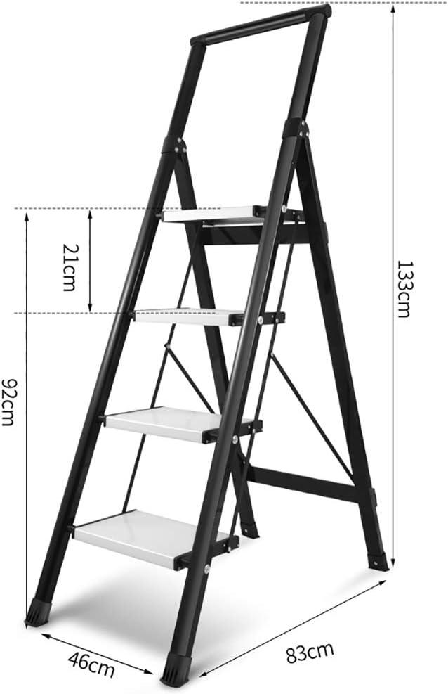 LXF Escaleras plegables Escalera plegable de 4 peldaños, Escalera ancha de aleación de aluminio con pedales anchos, Escalera multifuncional de uso doméstico, Carga de 150 kg (Color : NEGRO): Amazon.es: Bricolaje y herramientas