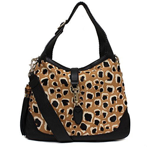 Gucci Ponyhair Leopard Print New Jackie Shoulder Handbag 246907 by Gucci