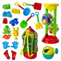 Dragon Too Kids Beach Toy Set –19 Piece Kit in Mesh Backpack Bag - Shovels, Scoops, Buckets, Waterfall, Shapes More Sand Castles, Water Play Sand Boxes