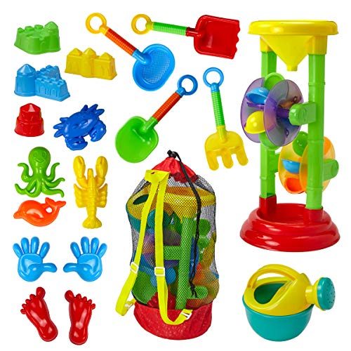 (Dragon Too Kids Beach Toy Set –19 Piece Kit in Mesh Backpack Bag - Shovels, Scoops, Buckets, Waterfall, Shapes and More for Sand Castles, Water Play and Sand Boxes)