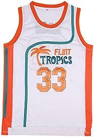 BOROLIN Mens Basketball Jersey #33 Jackie Moon Flint Tropics 90s Movie Shirts