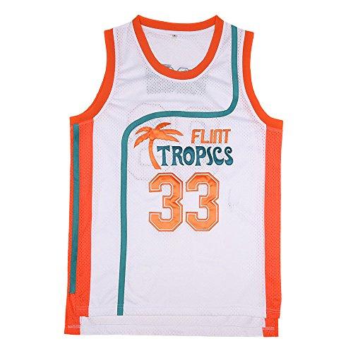 BOROLIN Mens Basketball Jersey #33 Jackie Moon Flint Tropics 90s Movie Shirts (White, XX-Large) (Lightweight Jersey Jackie)