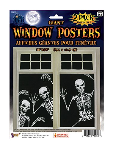 Forum Novelties Skeleton Window Posters (Set of 2), 30 x 48