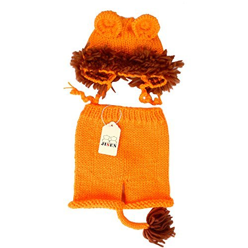 [Aonmy® Baby Newborn Photography Prop Handmade Crochet Knitted Cute Lion Set Unisex Baby Cap Outfit] (Cute Halloween Costumes For Newborn Babies)