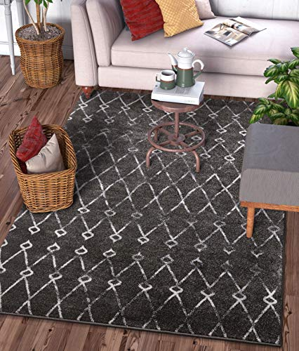 (Viaje Trellis Grey Distressed Traditional Vintage Moroccan Diamond Lattice Area Rug 5x7 (5'3