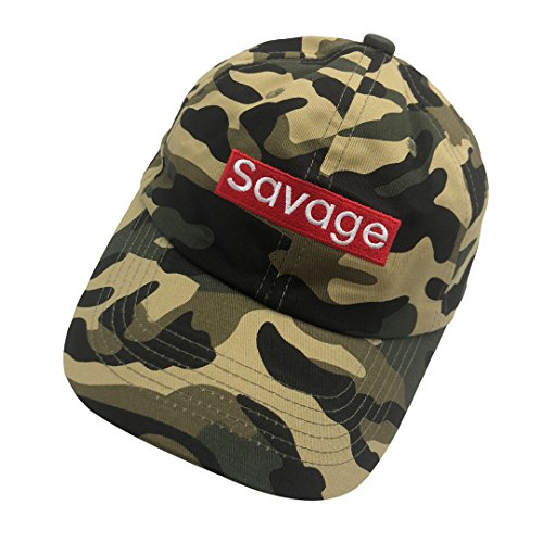 qumeng zzk Savage Dad Hat Baseball Cap 3D Letters Embroidered Adjustable Snapback Camo