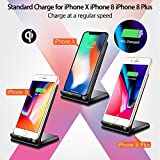 Seneo iPhone X Wireless Charger, Fast Wireless Charger Charging Pad(No AC Adapter) for Samsung Galaxy Note 8 S8 S8 Plus S7 S7 Edge Note 5 S6 Edge Plus, Standard Charge for Apple iPhone X / 8 / 8 Plus