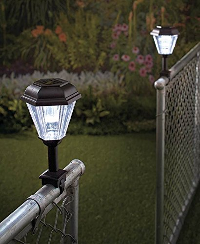 Set of 2 Railing Lights Black Solar Powered Lighted Fence Rail Lantern Lamp Yard Outdoor Garden Decor
