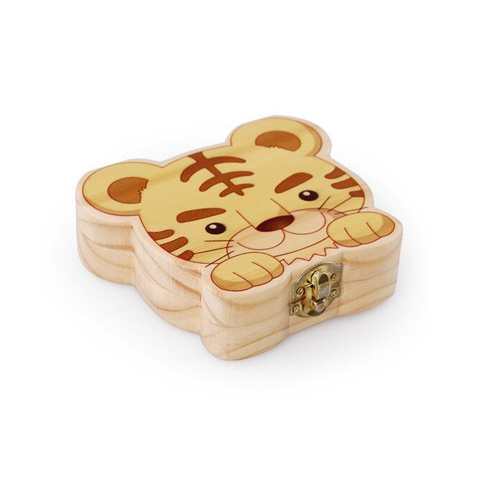 Decentgadget® Cute Tiger Shape Durable Baby'S Teeth Save Wooden Boxes Deciduous deciduous Teeth Box Teeth Storage Box