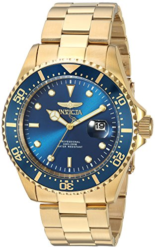 Invicta Men's Pro Diver Quartz Diving Watch with Stainless-Steel Strap, Gold, 22 (Model: - Pro Watch Blue