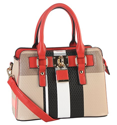 Top Plaid Lock Bag Decor PU Medium Structured Front Diophy Pattern Tote Leather Black Handle wqzHxREng