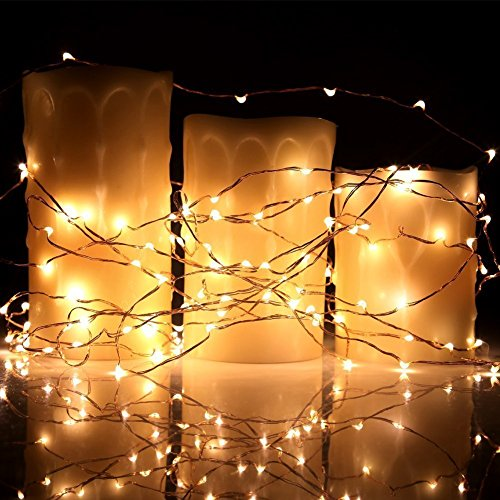 40 Feet Starry String Lights Warm White Color LED's on a Flexible Copper Wire - LED String Light with 120 Individually Mounted LED's-UL Adaptor Included by MineTom (Image #3)