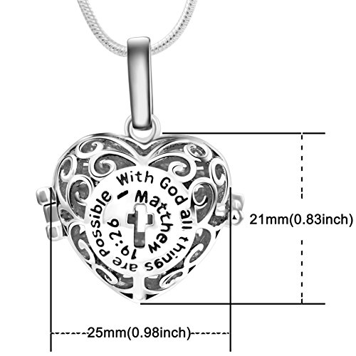 Sufiniya Heart Aromatherapy Essential Oil Diffuser Perfume Necklace Locket Pendant and 6 Colours Lava Stone Beads with Adjustable Snake Chain-Hollow Cross by Sufiniya (Image #5)