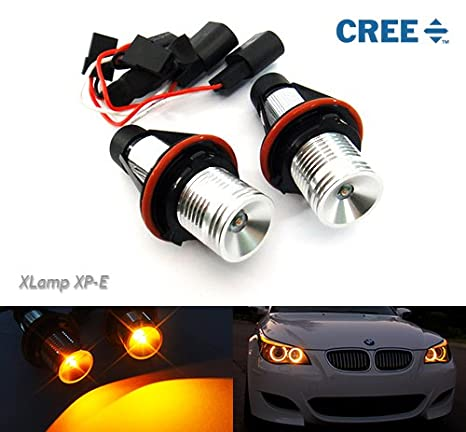 2 x ámbar Angel Eye Halo Ring CREE bombilla LED no error 10 W E39 E87 E60 E61 E63 E53 X5: Amazon.es: Coche y moto