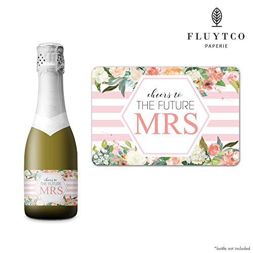 FUTURE MRS - Set of 20 Bachelorette Label Stickers for Mini Champagne Bottle & Gift Box - Bridesmaid, Maid & Matron of Honor Proposal Gift- Engagement Party- Bridal Shower by FLUYTCO