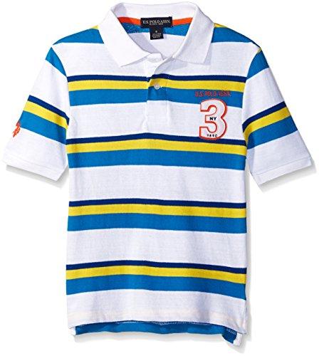 Applique Stripe Polo (U.S. Polo Assn. Big Boys Short Sleeve Stripe Pique Shirt With Felt Applique, Blue Tile, 14/16)
