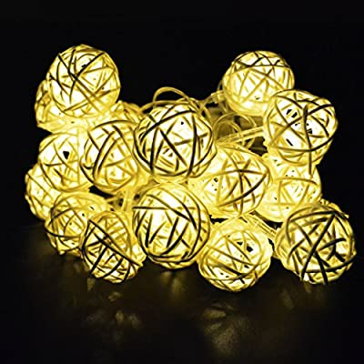 Seedan 20 LED 13ft Rattan Ball Christmas String Lights for Party Wedding New Year Halloween Decoration (Warm White)