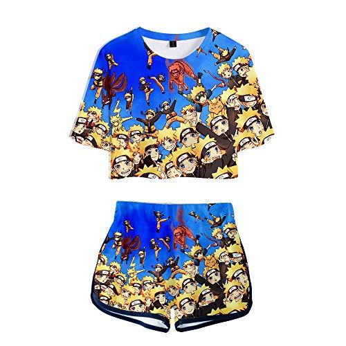 2 PieceAkatsukiOutfits for Women Uchiha Short Sleeve Crop Top and Short Pants Sets (6, Small) -