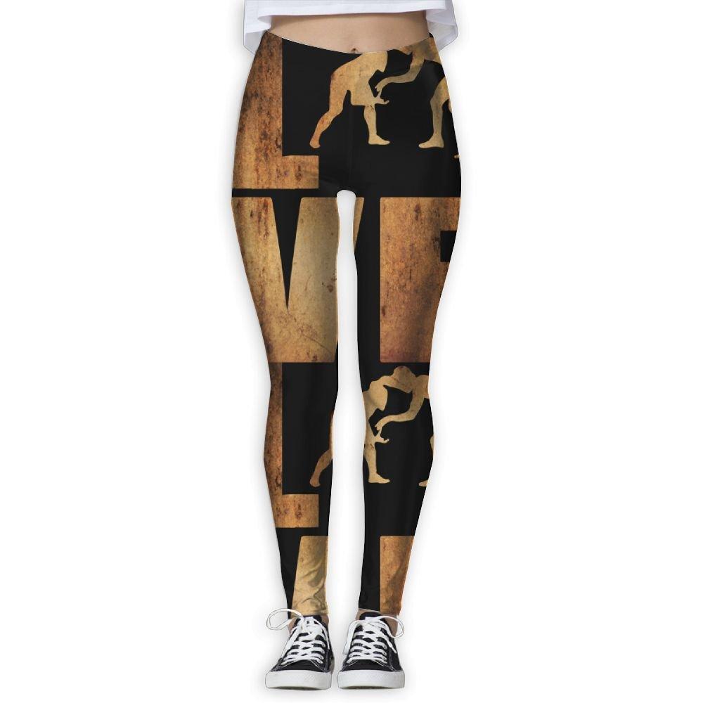 WomensPowerYogaPants Love Wrestling Vintage Women's Yoga Pants Fitness Power Flex Leggings Digital Printed