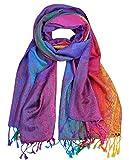NYFASHION101 Elegant Colorful Paisley Soft Pashmina Scarf Shawl Wrap NBH1401Y - Light Rainbow 07