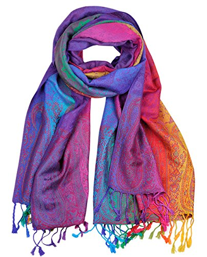 NYFASHION101 Elegant Colorful Paisley Soft Pashmina Scarf Shawl Wrap NBH1401Y - Light Rainbow 07 (Sari Scarf)