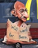 Gandhi Huge 37 x 29 Artwork On Canvas By World