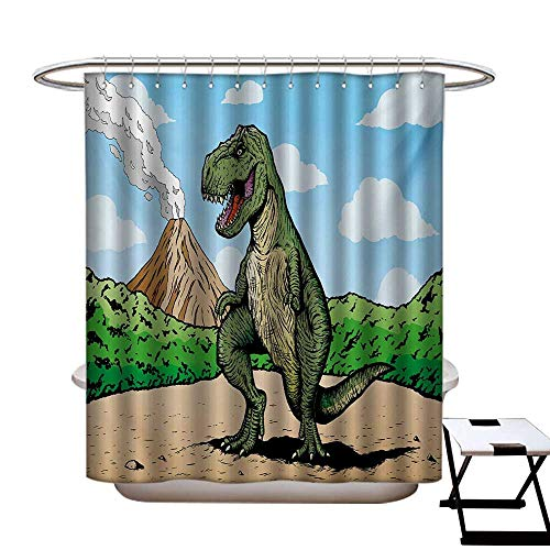 Dinosaur Shower Curtains Waterproof Giant Lizard T-Rex on Active Volcano Untouched Jungle Backdrop Fabric Bathroom Decor Set with Hooks W69 x L75 Green Pale Brown Pale Blue