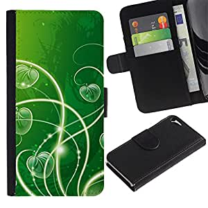 ZONECELL Imagen Frontal Negro Cuero Tarjeta Ranura Trasera Funda Carcasa Diseño Tapa Cover Skin Protectora Case Para Apple Iphone 5 / 5S - naturaleza hermosa bosque verde 23