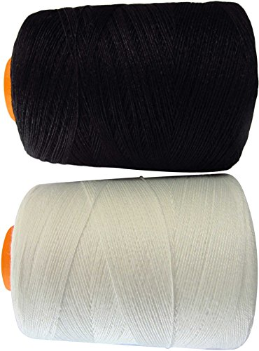 Sewing Machine Thread Spools - LeBeila 100% Polyester Cotton Sewing Spool Super Strong Upholstery Threads 492 Yards/Each Cone, Heavy Duty Machines / Hand Repair Works, Black & White Set (2 (Textured Stretch Knit)