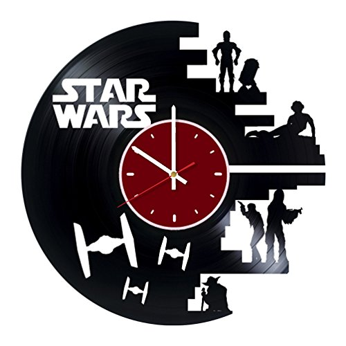 Death Star Orbital Battle Station TIE Fighter Star Wars Vinyl Wall Clock