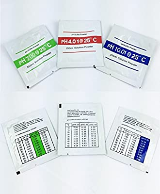 Set of 3 Pcs Ideal Popular Generic pH Buffer Powder Calibration Test Meter Stability for 4-7-10pH Make up 250ml per Pack