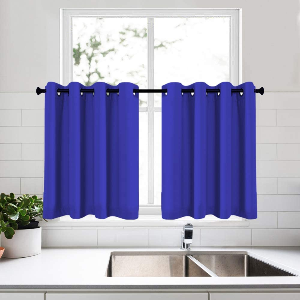 KEQIAOSUOCAI 2 Pack Small Window Royal Blue Curtains Tiers for Kitchen Bathroom Basement Room Darkening 36 Inch Tiers Panels for Bedroom 52 x 36 Inch