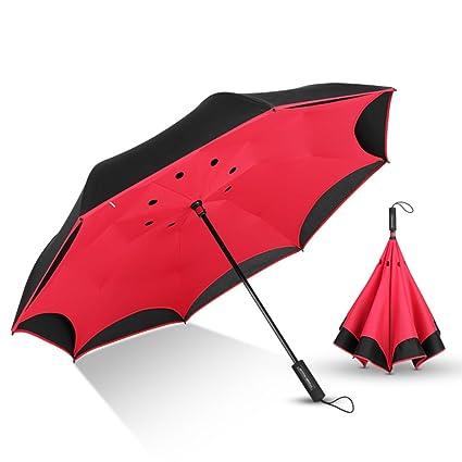 Paraguas plegable Sombrilla creativa invertida para hombre Sombrilla doble para exterior reversible exterior automática hombre y