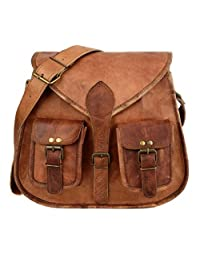 "KK's 13"" Inch Handicrafts Women Vintage Style Genuine Brown Leather Cross Body Shoulder Bag Handmade Purse"